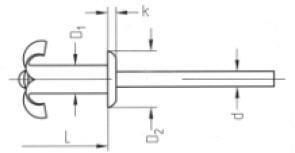 rivet plk alu/st star 4.0x12 klemb. 4.0-6.5 mm, 500 stuks