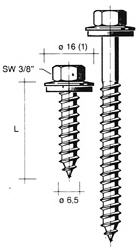 dak & gevelbout type a verzinkt r16 + afdichtring 16mm 6.5x50, 200 stuks